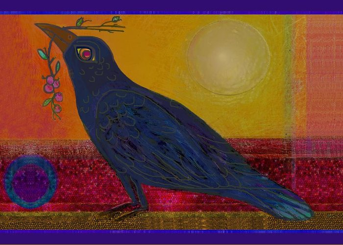 Crow Greeting Card featuring the drawing Crow In The Sun by Lydia L Kramer