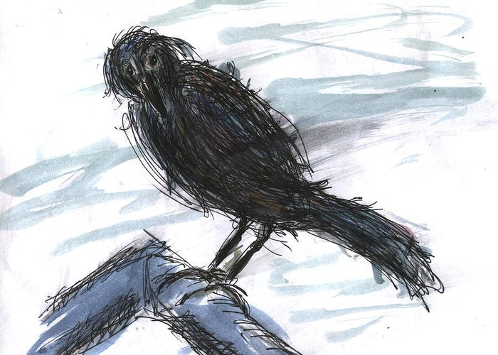 Kevin Callahan Greeting Card featuring the painting Crow In The Wind by Kevin Callahan