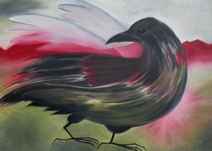 Crow Greeting Card featuring the painting Crow by Karen MacKenzie
