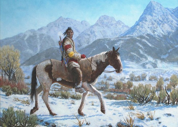 Crow Warrior Greeting Card featuring the painting Crow on the Yellowstone river by Scott Robertson