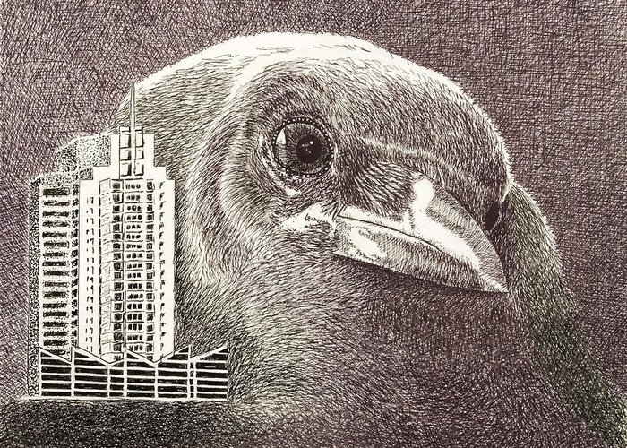 Pen Greeting Card featuring the drawing Crow Over Casino Windsor by Wade Clark