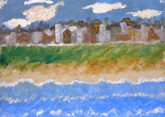 Seascape Greeting Card featuring the painting Crowded Beaches by R B