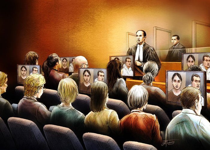 Crown Greeting Card featuring the painting Crown Kevin Gowdey Delivers Opening Address At The Rafferty Trial by Alex Tavshunsky