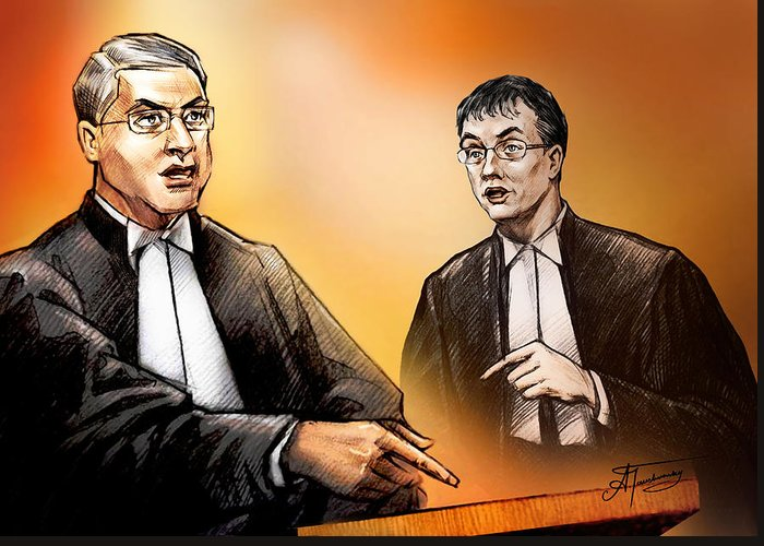 Crown Greeting Card featuring the painting Crown Michael Carnegie Versus Defence Lawyer Dirk Derstine At The Rafferty Trial by Alex Tavshunsky