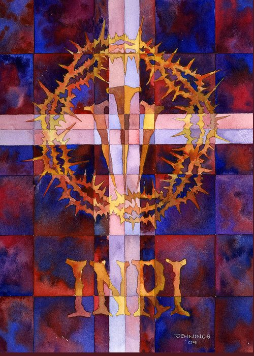 Crown Greeting Card featuring the painting Crown Of Thorns by Mark Jennings