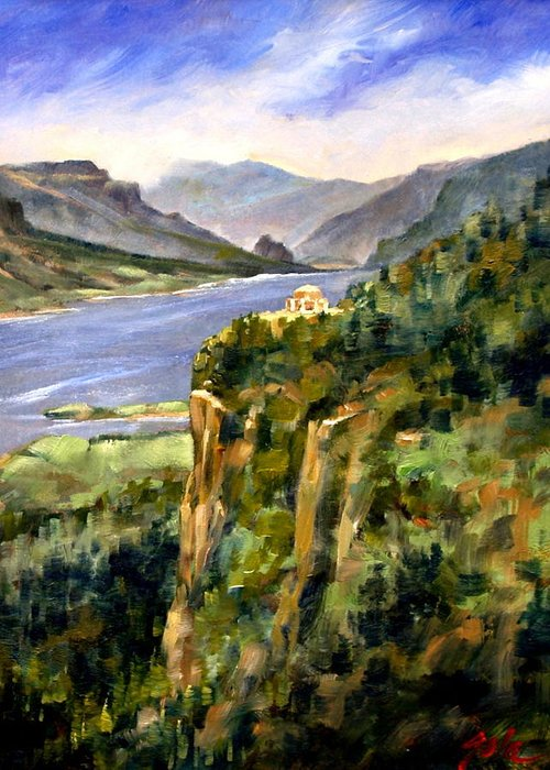 16 X 12 Greeting Card featuring the painting Crown Point Oregon by Jim Gola
