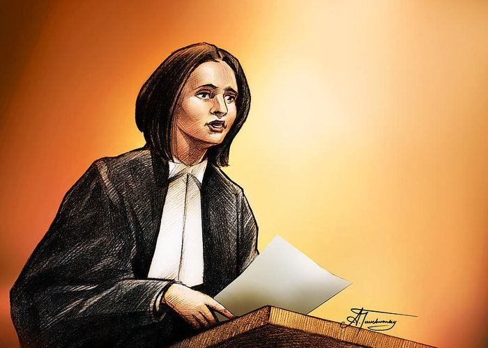 Crown Greeting Card featuring the painting Crown Stephanie Venne Reads Daryn's Statement At The Rafferty's Sentencing by Alex Tavshunsky