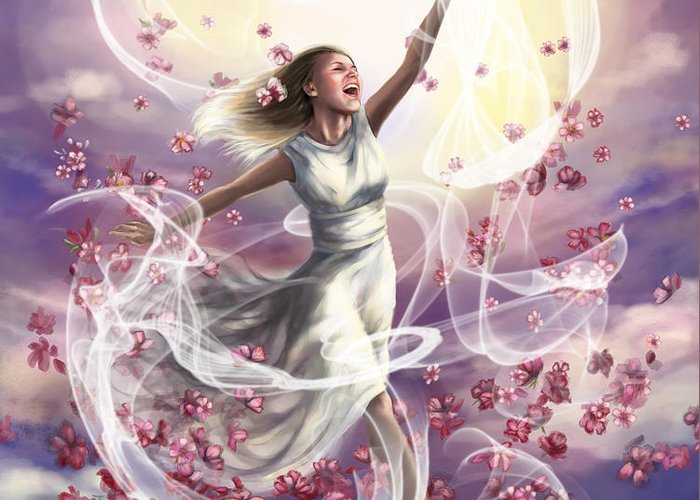 Prophetic Art Greeting Card featuring the painting Crowned With Glory... Dancing In Glory by Tamer and Cindy Elsharouni