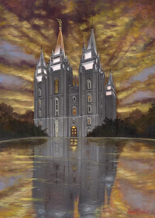 Temple Greeting Card featuring the painting Crowned With Glory by Jeff Brimley