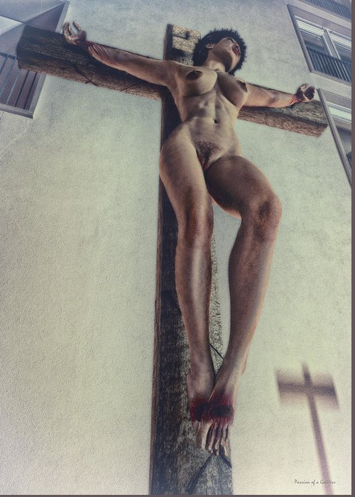 Street At Night Greeting Card featuring the digital art Crucified In The Street by Ramon Martinez