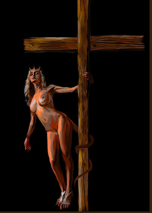 She Devil Greeting Card featuring the painting Crucified by Tbone Oliver