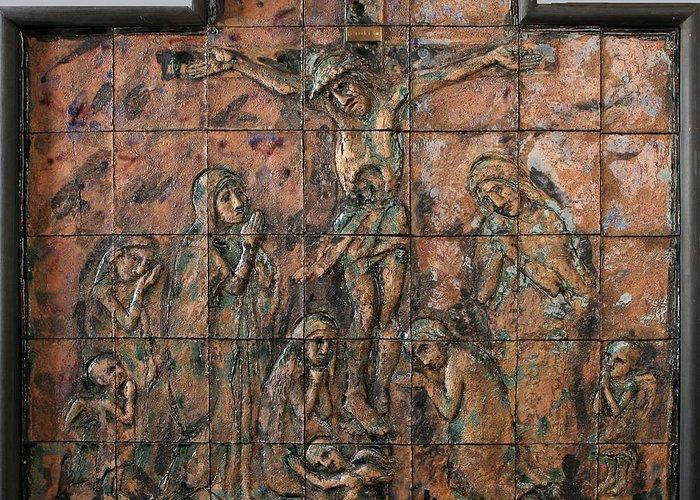Crucifix Ceramics Relief Greeting Card featuring the relief Crucifix by Raimonda Jatkeviciute-Kasparaviciene