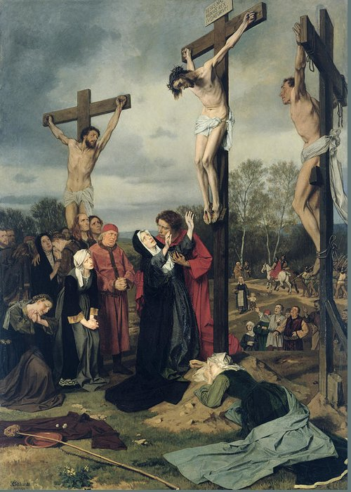 Crucifixion Greeting Card featuring the painting Crucifixion by Eduard Karl Franz von Gebhardt