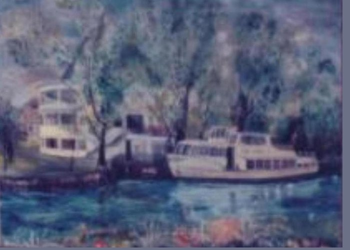River Cruiseboat On Rhine Germany Swans Greeting Card featuring the painting Cruiseboat On Rhine River Germany by Alfred P Verhoeven