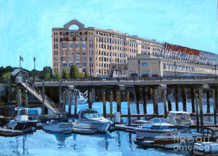 Boston Greeting Card featuring the painting Cruiseport Boston by Deb Putnam