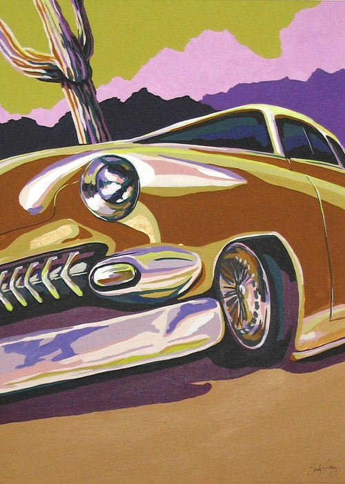 Route 66 Greeting Card featuring the painting Cruisin by Sandy Tracey
