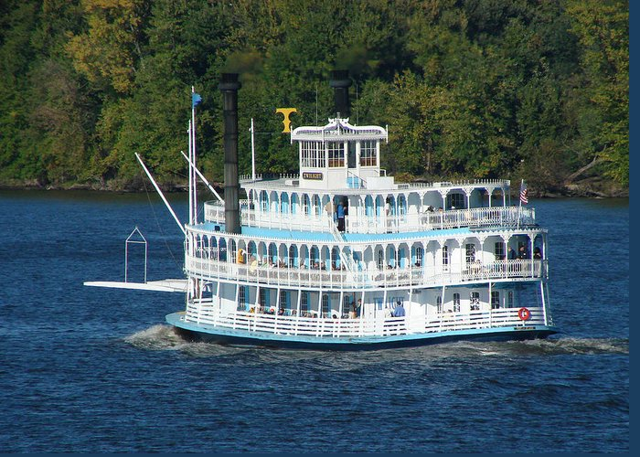 Riverboat Greeting Card featuring the photograph Cruising Up The Mississippi by Dave Clark