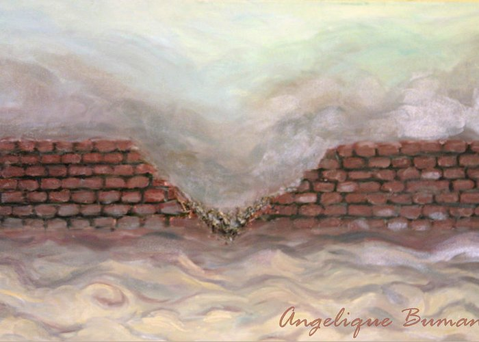 Oil Greeting Card featuring the painting Crumble by Angelique Bowman