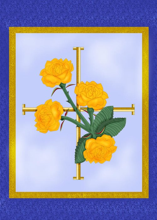 Golden Roses Greeting Card featuring the painting Crusader Cross And Four Gospel Roses by Anne Norskog