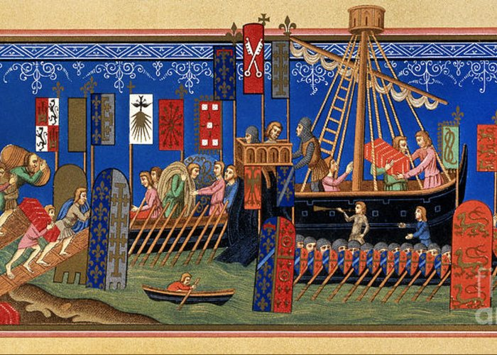 14th Century Greeting Card featuring the painting Crusades 14th Century by Granger