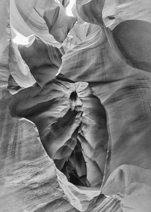 Abstract Greeting Card featuring the photograph Crying Face - Antelope Canyon by Andreas Freund