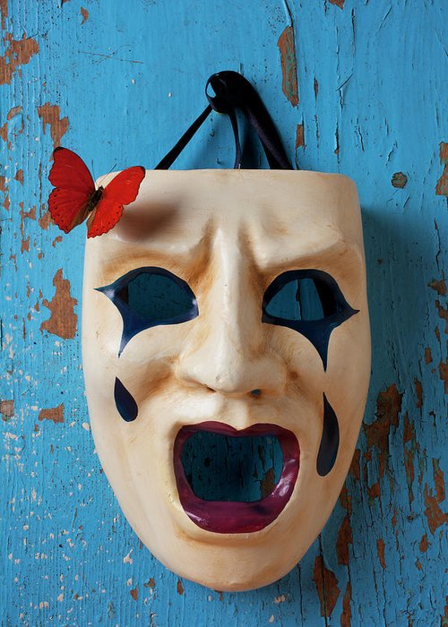 Crying Greeting Card featuring the photograph Crying Mask And Red Butterfly by Garry Gay
