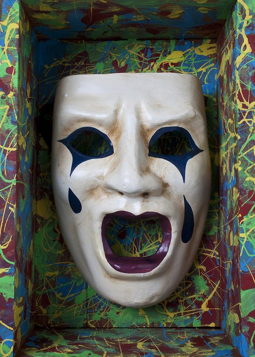 Crying Greeting Card featuring the photograph Crying Mask In Box by Garry Gay