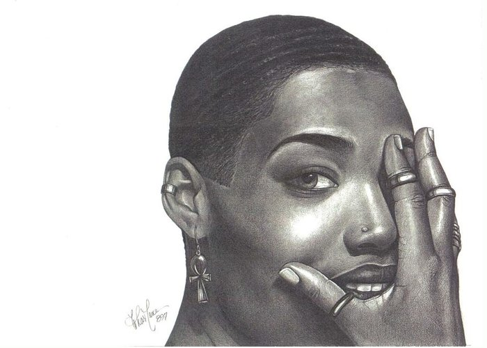Woman Greeting Card featuring the drawing Crystal Blaque by Charlene Cooper
