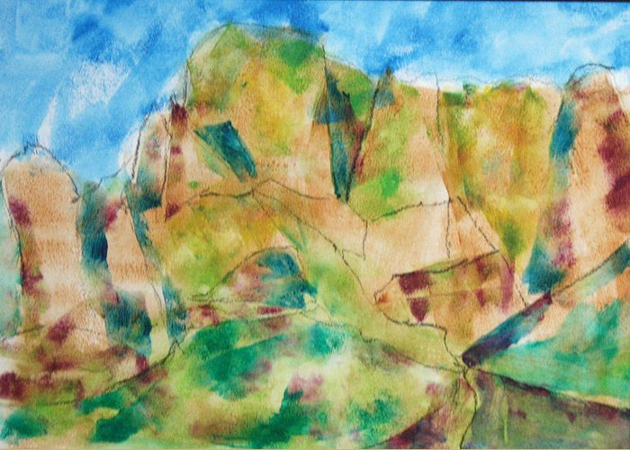 Landscape Greeting Card featuring the painting Crystal Catalina by Mordecai Colodner