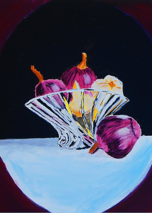 Still Life Greeting Card featuring the painting Onions And Garlic by Chris Hayden