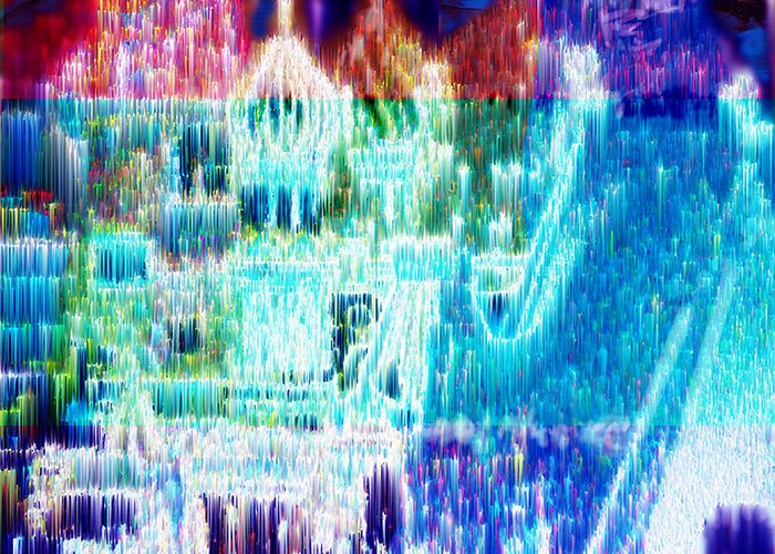 Northern Lights Greeting Card featuring the digital art Crystal City by Seth Weaver