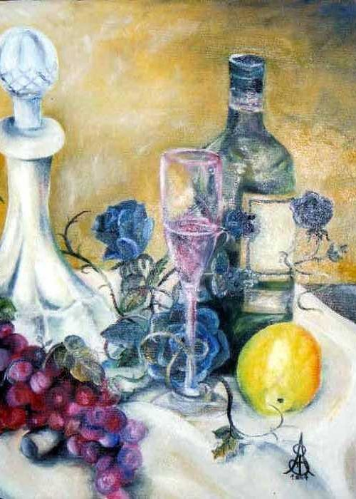 Still Life Greeting Card featuring the painting Crystal Clear by Amanda Sanford