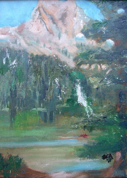 Lake Landscape Mountains Greeting Card featuring the painting Crystal Craig At Pine Lake by Bryan Alexander