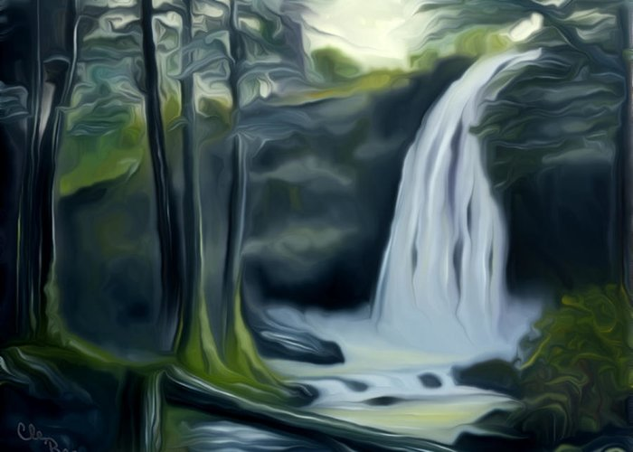 Black Forest Greeting Card featuring the painting Crystal Falls In The Black Forest Dreamy Mirage by Claude Beaulac
