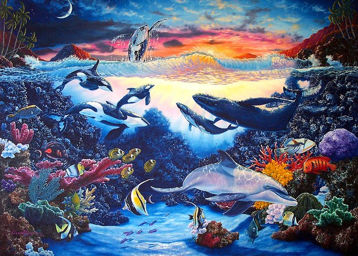 Whale Greeting Card featuring the painting Crystal Shore by Daniel Bergren