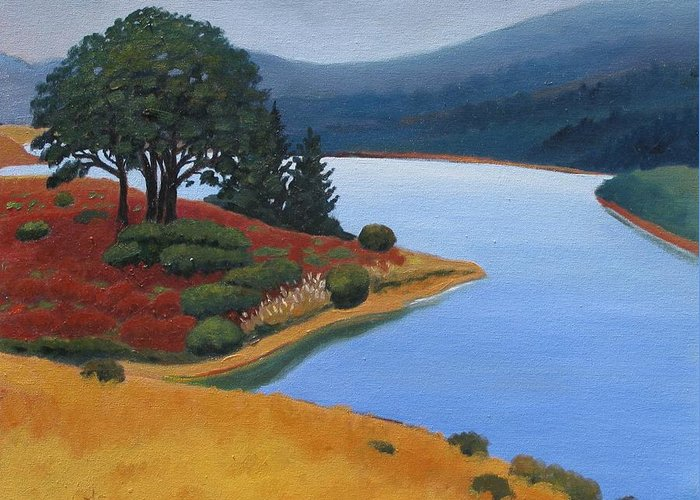 Reservior Greeting Card featuring the painting Crystal Springs by Gary Coleman