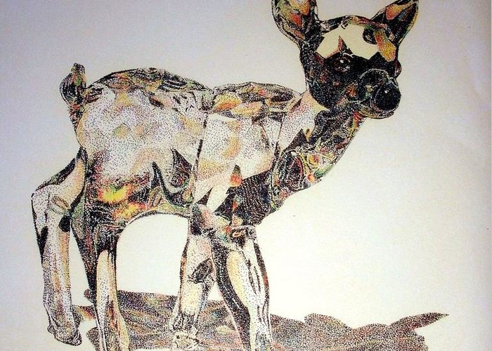 Deer Fawn Crystal Figurine Swarovsky Greeting Card featuring the painting Crystal by Tony Ruggiero