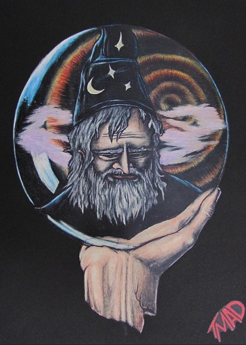 Michael Finney Greeting Card featuring the drawing Crystal Wizard by Michael TMAD Finney