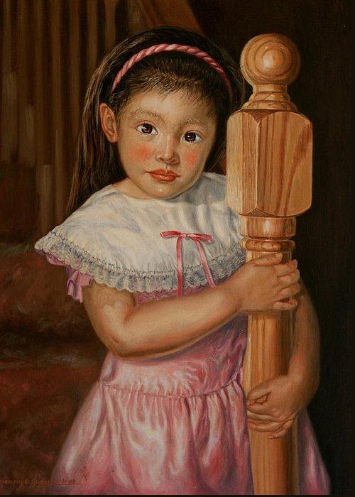 Oil Portrait Greeting Card featuring the painting Crystalyn Ann by Rosencruz Sumera