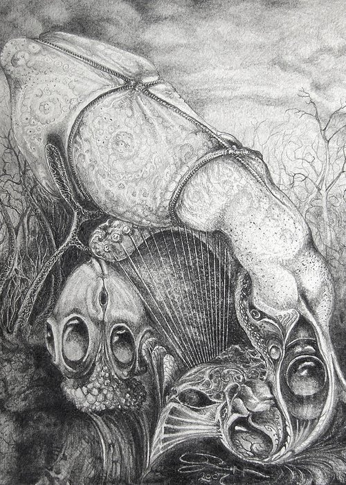 Surrealism Greeting Card featuring the drawing Ctulhu Seedpods by Otto Rapp