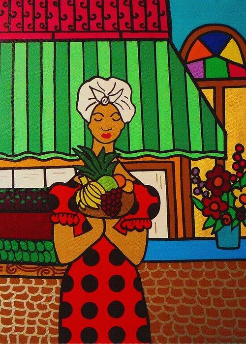 Cuban Vignette Greeting Card featuring the digital art Cuban Vignette by Andrea N Hernandez
