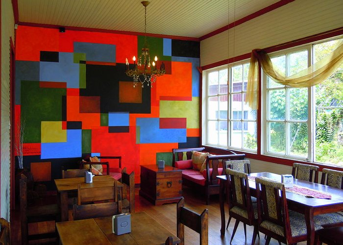 Greeting Card featuring the painting Cubist Mural At El Encanto by Scott K Wimer