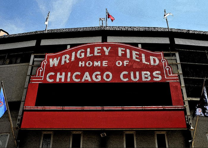 Wrigley Field Greeting Card featuring the digital art Cub's House by Lyle Huisken