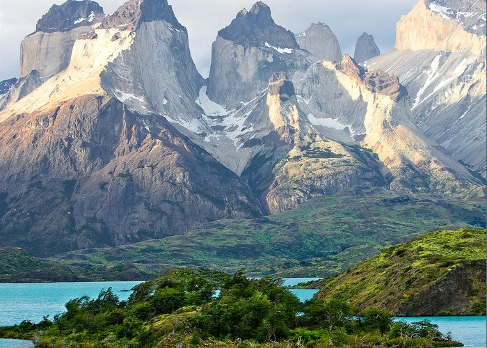 Torres Del Paine Greeting Card featuring the photograph Cuernos Del Paine - Patagonia by Carl Amoth