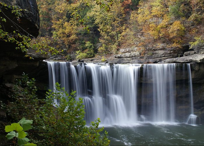 Landscape Greeting Card featuring the photograph Cumberland Falls In Green by Bj Hodges
