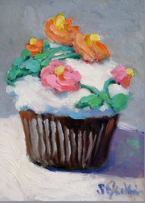 Cupcake Greeting Card featuring the painting Cup Cake by Susan Jenkins