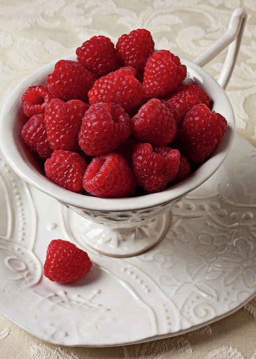 Raspberries Fruit Cup Food Berry Greeting Card featuring the photograph Cup Full Of Raspberries by Garry Gay