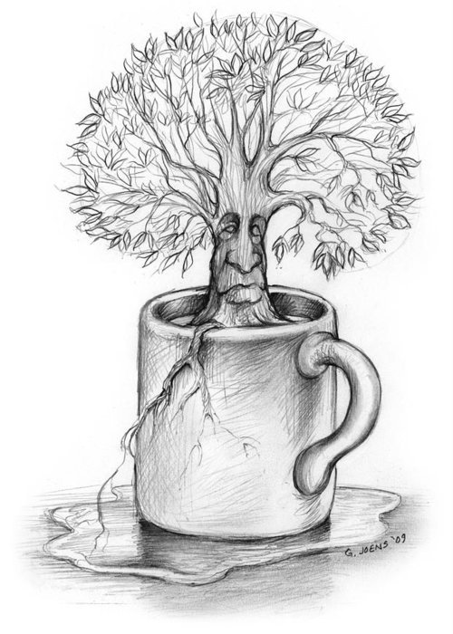 Sketch Greeting Card featuring the drawing Cup-o-tree by Greg Joens