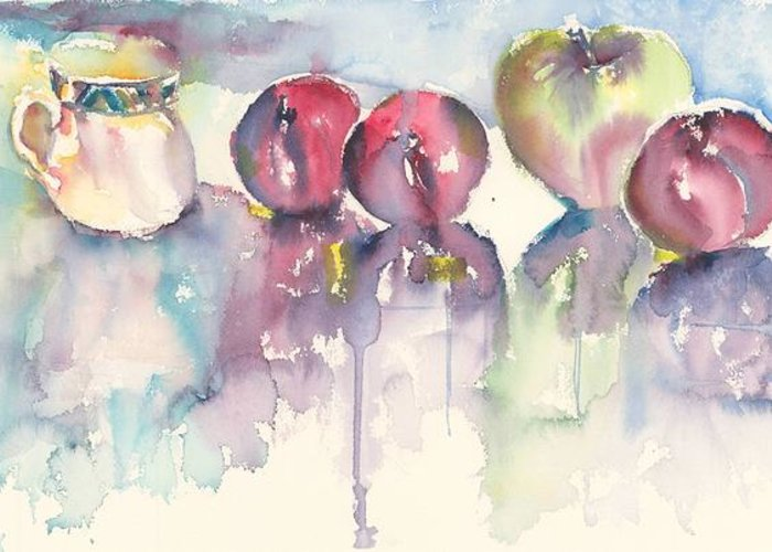 Still Life Greeting Card featuring the painting Cup Plums And A Green Apple by Beena Samuel