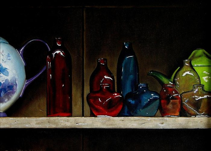 Doug Strickland Greeting Card featuring the painting Cupboard Bottles by Doug Strickland